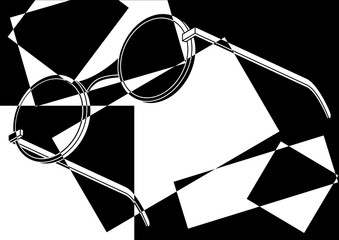 Fototapeta Popart Lunettes de soleil rondes pop art en noir et blanc
