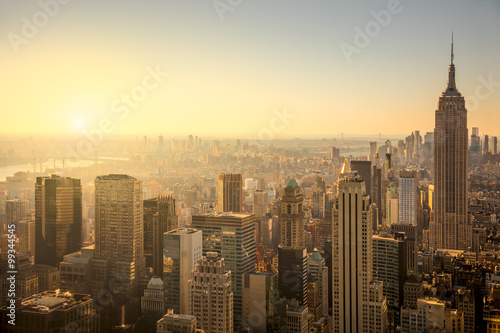 New York City skyline with urban skyscrapers at gentle