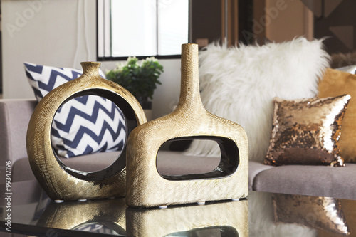 Fotografia, Obraz  decoration vase on the table in living room