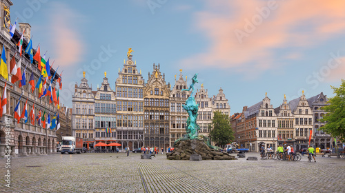 Spoed Foto op Canvas Antwerpen Cental square of Antwerp. City Hall