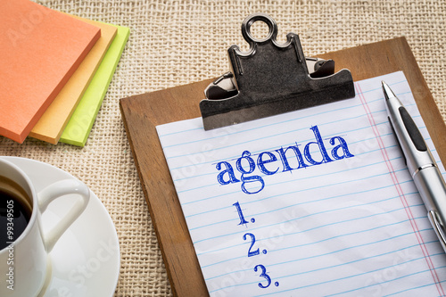 agenda list on clipboard and coffee Canvas Print