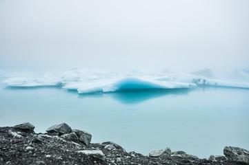 Blue icebergs in Jokulsarlon glacial lagoon, Iceland