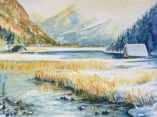 Zimowy krajobraz z góry, jeziora i domu pokryte śniegiem. Obraz utworzony za pomocą akwarel na papierze.