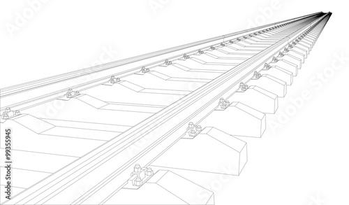 Fotografía  Railway on white