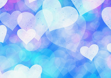 Blue Hearts Bokeh Background Of A Love Symbol