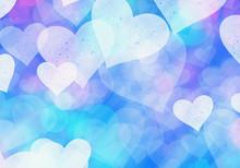 Blue Hearts Bokeh Background O...