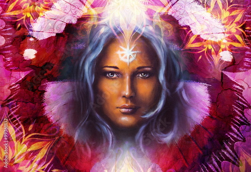Fototapety, obrazy: Beautiful Painting Goddess Woman with ornamental mandala and butterfly wings and color abstract background  and eye contact.