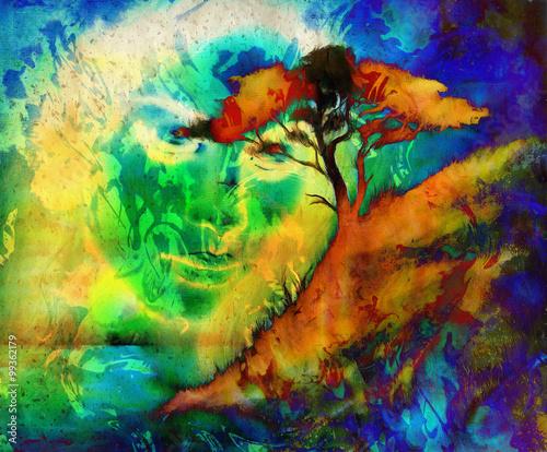 bogini-kobieta-z-ozdobna-twarza-i-drzewem-i-kolor-tla-streszczenie-medytacyjne-zamkniete-oczy