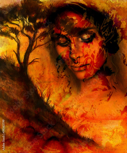 Goddess woman, with ornamental face and tree, and color abstract background. meditative closed eyes, computer collage. Red, orange, black color.