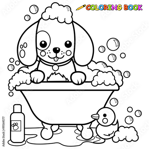 Dog taking a bath coloring book page - Buy this stock vector ...