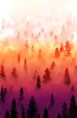 Panel Szklany Drzewa misty forest landscape