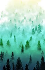 Fototapeta misty forest landscape