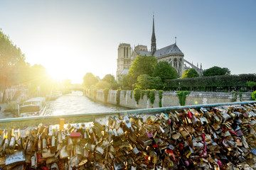 View of Notre Dame cathedral in Paris with famous locks of love