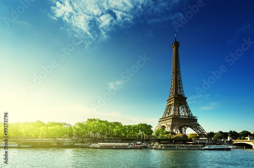 Poster Tour Eiffel Seine in Paris with Eiffel tower in sunrise time