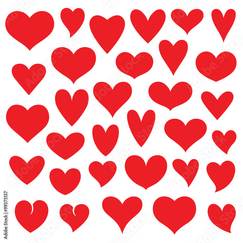 heart vector set Tableau sur Toile