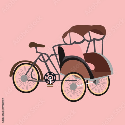 Fotografia, Obraz  becak rickshaw indonesia jakarta icon flat vector illustration transportation