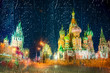 Moscow,Russia,Red square,view of St. Basil's Cathedral at rainy night, through wet window