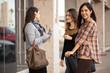 Girlfriends meeting at a shopping center