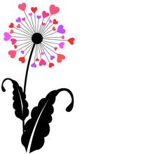 Heart Petals Dandelion Flower Design