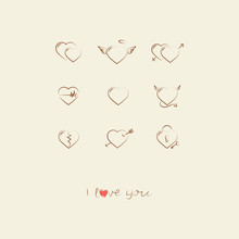 I Love You. Doodle Hearts Icon Set 9. Hand Drawn Text