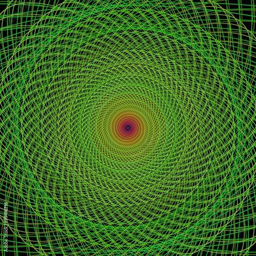 Fotografie, Obraz  Green fractal spiral background