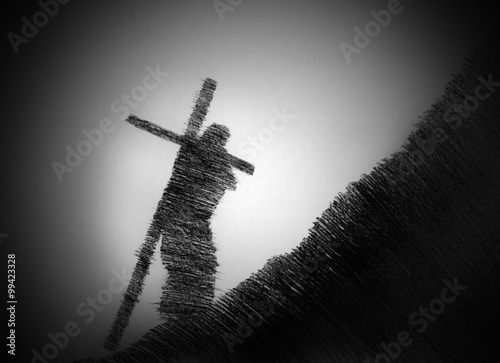 man carrying the cross Canvas Print