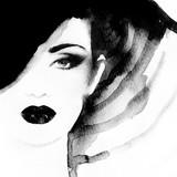 Piękna twarz. portret kobiety w kapeluszu. akwarela malarstwo. moda tło - 99425353