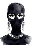 Portret piękna kobieta jest ubranym czerni maskę z czarnymi oczami. akwarela ilustracja - 99425941