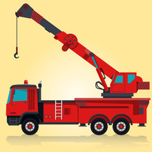 Big Red Crane With Hook And Arm. Nice Isolated Master Vector. Professional Illustration For Banner Poster Or Icon. Truck Digger Crane Forklift Bagger Roller Extravator