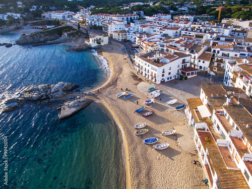 Poster Cote Aerial view of coast of Llafranc Palafrugell Spain