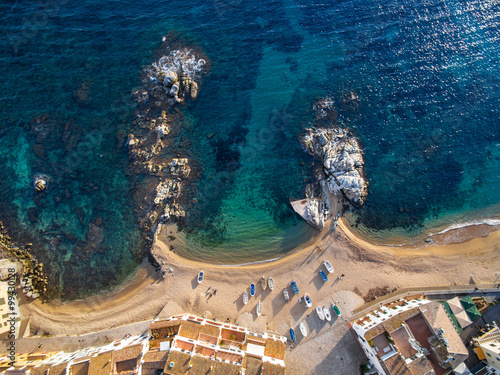 Canvastavla Aerial view of coast of Llafranc Palafrugell Spain