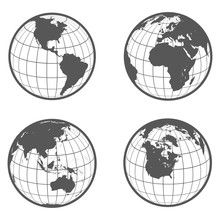 Set Of Globes With Different C...