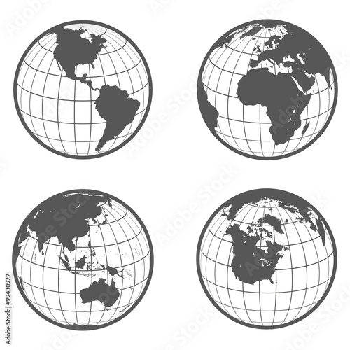 Set of globes with different continents earth flat style Wall mural