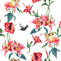 Fototapeta Egzotyczne Tropical pink lilies and red hibiscus flowers with a hovering colibri. Seamless floral pattern, hand painted watercolor. Isolated on white background. Fabric texture.