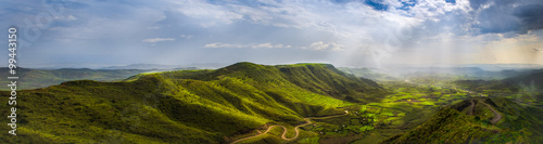 Spoed Foto op Canvas Afrika Landscape from a view point in Lalibela