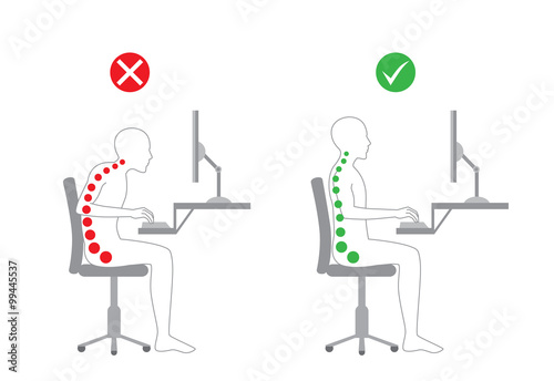 Láminas  Correct body alignment in sitting working with computer