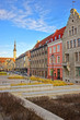 Street view to the Town Hall in the Old city of Tallinn in Estonia