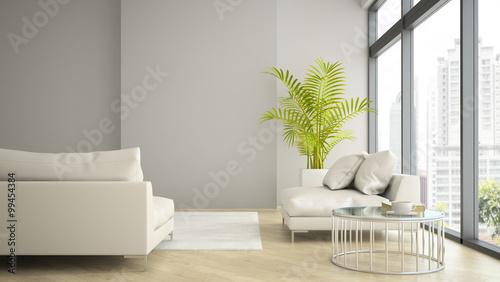 Fotografía  Interior of modern design loft with palm 3D rendering