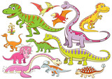 Fototapeta Dinusie - illustration of cute dinosaurs cartoon character