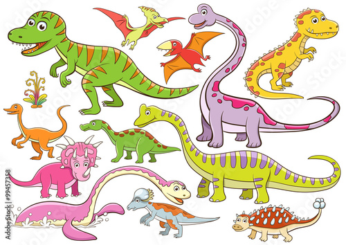 obraz PCV illustration of cute dinosaurs cartoon character
