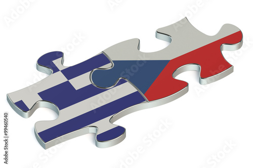 Photo  Czech Republic and Greece puzzles from flags