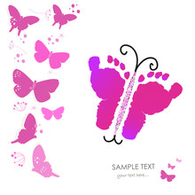 Baby Foot Prints And Butterfly Vector Greeting Card Background