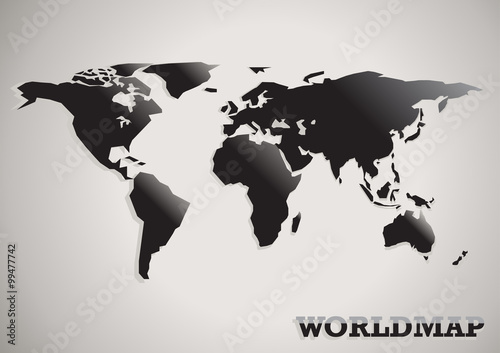 Spoed Foto op Canvas Wereldkaart paper cut world map black white and grey abstract vector