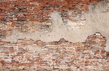 Cracked Concrete Vintage Brick Wall Background