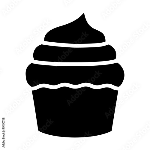 Photo  Cupcake dessert flat icon for apps and websites