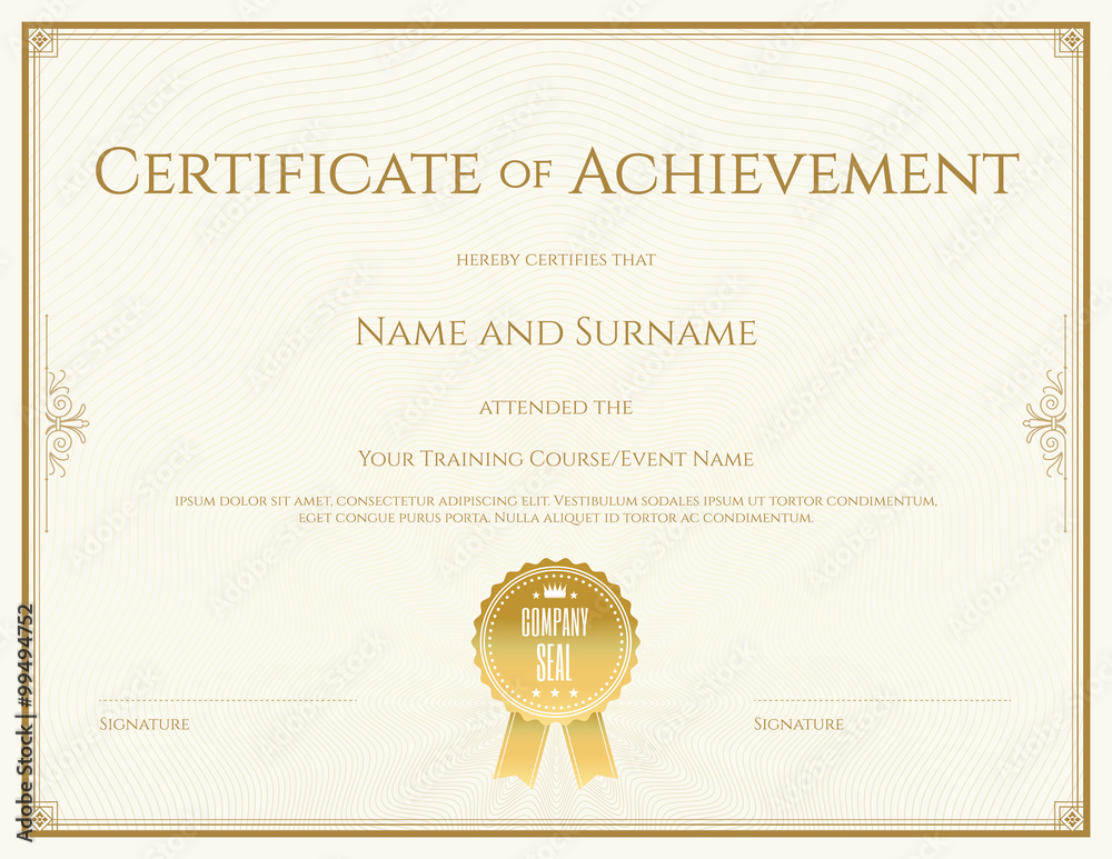 Fototapety, obrazy: Certificate template in vector for achievement graduation completion
