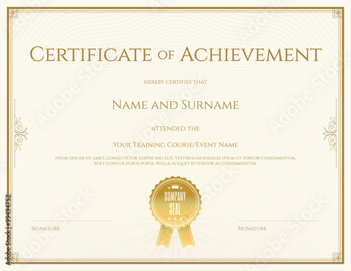 Photo  Certificate template in vector for achievement graduation completion