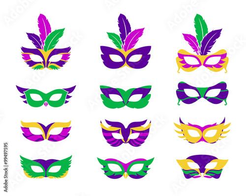 Mardi gras mask, vector mardi gras masks isolated on white Wall mural