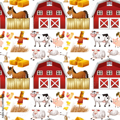 Cotton fabric Seamless farm animals and red barn