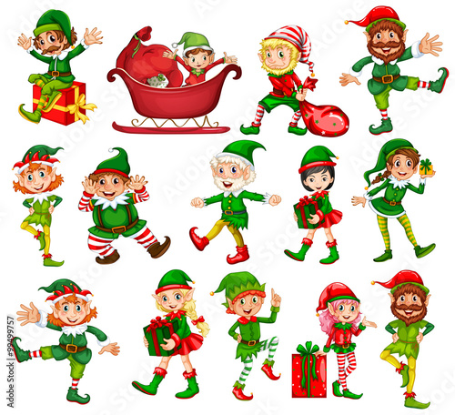 Canvas Prints Kids Christmas elf in different positions